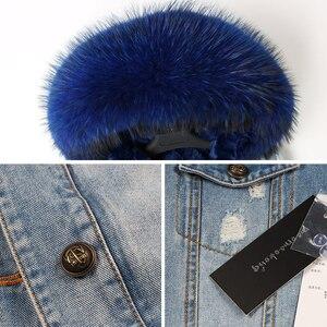 Image 5 - 2020 kış yeni tavşan kürk kalınlaşma astar ceket ceket moda gevşek tilki kürk yaka ayrılabilir astar ceket kadın sıcak