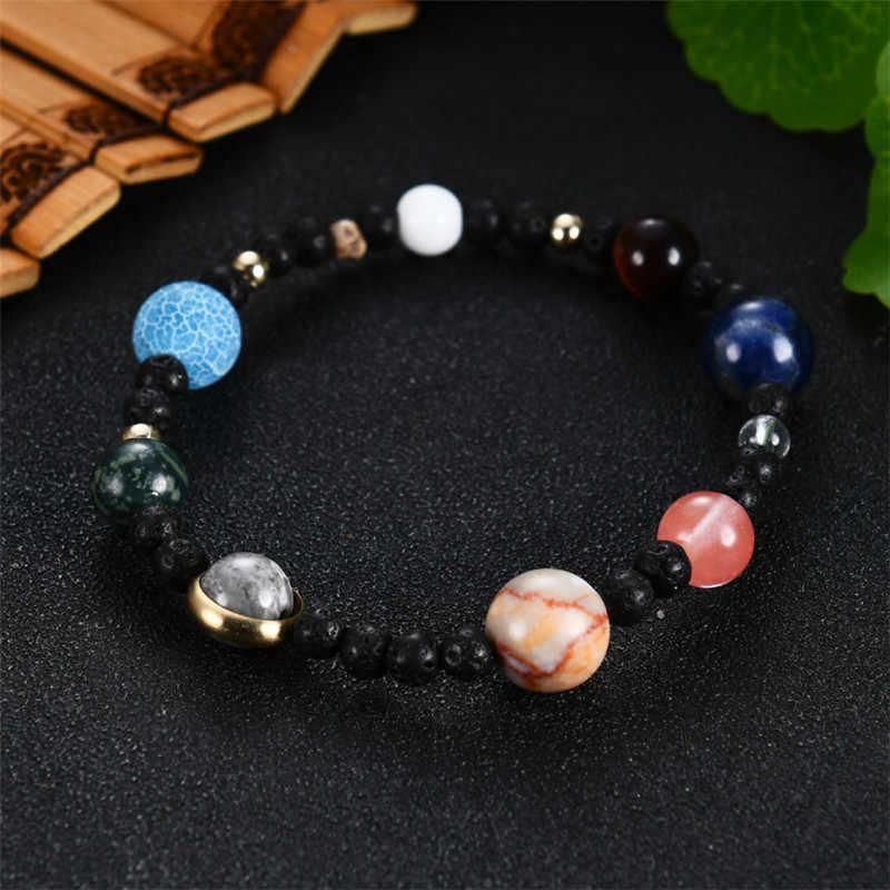 Moda AAA tygrysie oko kamień naturalny planety bransoletka mężczyźni wszechświat Galaxy układ słoneczny bransoletki dla kobiet biżuteria Chakra prezenty