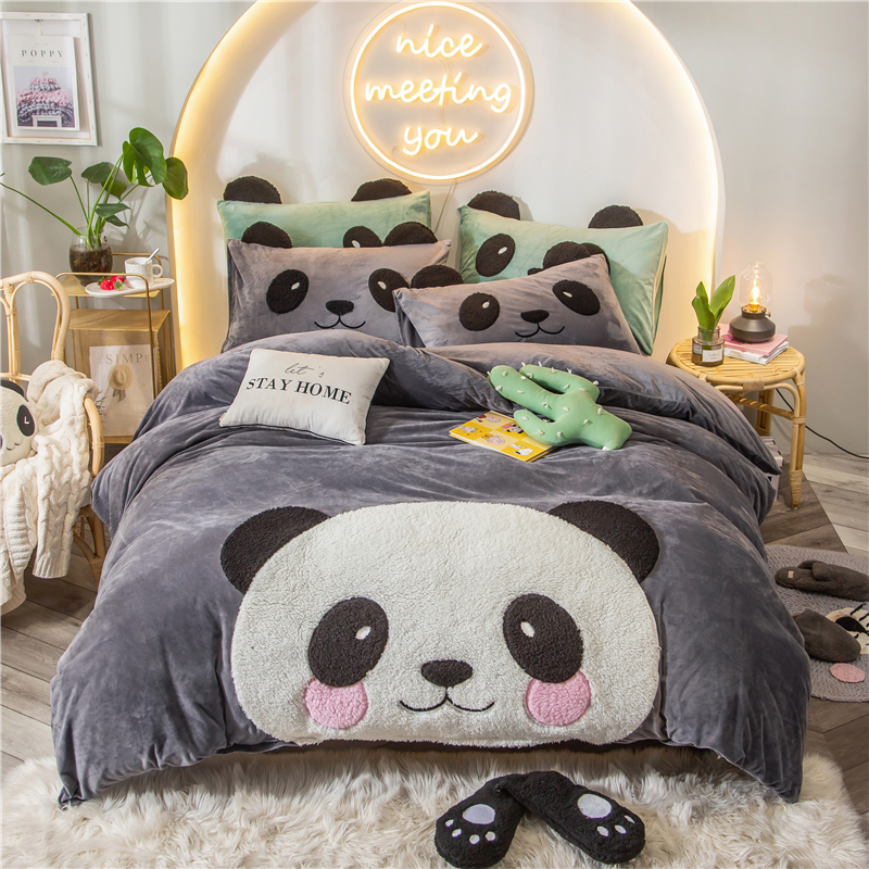 2020 Panda Owl Koala Applique Bedding Set Duvet Cover Sheet Pillowcase King Queen Twin Size Fleece Fabric Bed Linen
