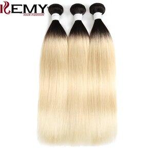 Image 4 - 1b/613 # Ombre Blonde Haar Bundles KEMY HAAR 8 26 Inch Brasilianische Gerade Menschenhaar Spinnt Bündel nicht Remy Haar Extensions 1PCS