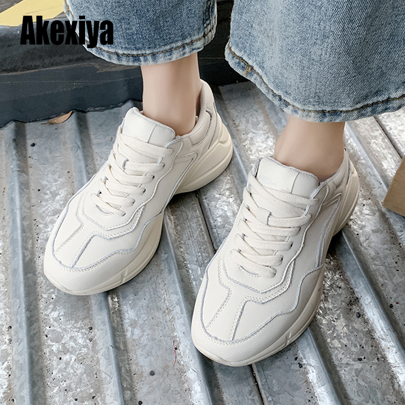 Womens Sneakers Shoes Women Beige Shoes Girl Dropshipping Fashion Lace Up Rubber Causal Sneakers Spring S273