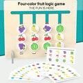 1 комплект Цвета фрукты двусторонняя игра логическое мышление навыки обучающие игрушки для детей деревянная игрушка