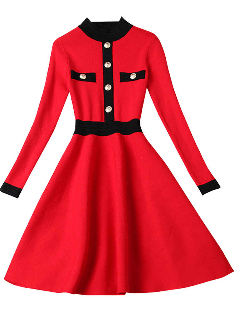 Gaun Wanita Pakaian 2020 Rajutan Sweter Gaun Elegan Midi Wanita Korea Gaun Lengan Panjang Vestido Vintage 87849 YY2479
