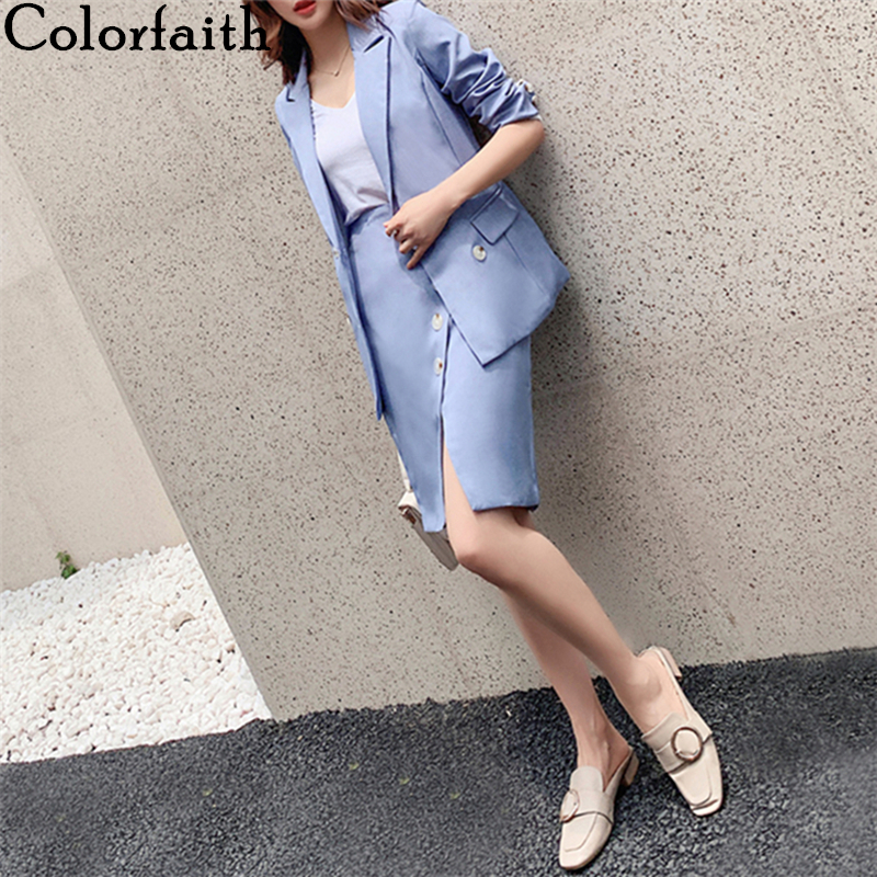 Colorfaith 2020 New Summer Woman Sets 2 Pieces Matching Short Skirts Elastic Waist Double Breasted Casual Split Sexy Suit WS1267