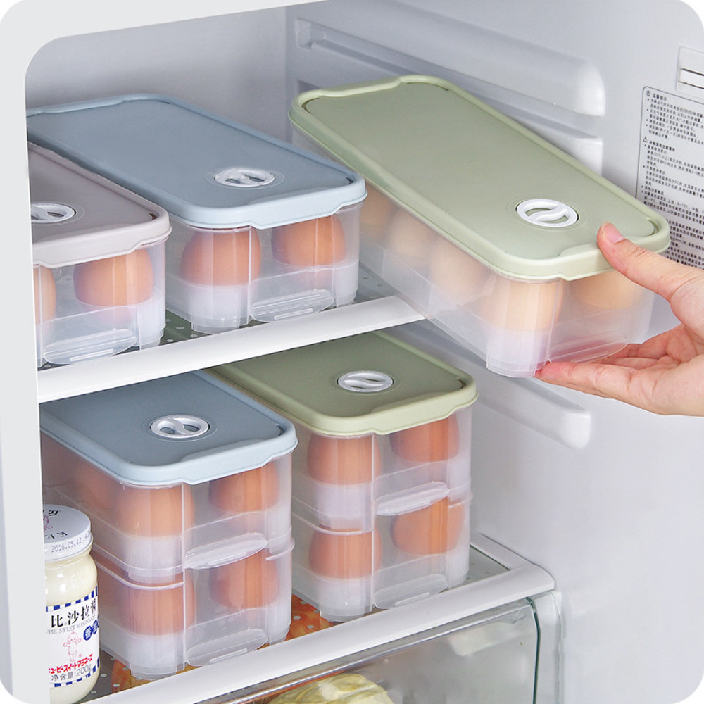 Single Layer Refrigerator Food 10 Eggs Airtight Storage container plastic Box kitchen cabinet storage make up storage organizer