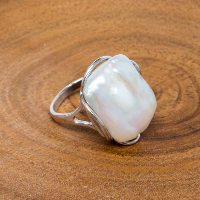 BaroqueOnly Natural freshwater Baroque pearl ring retro style 14K notes gold retro style irregular shaped square ring RFB