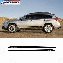 Performance Sport rayures en Fiber de carbone voiture porte côté jupe autocollant vinyle décalque pour Subaru Outback vue 2015-2019