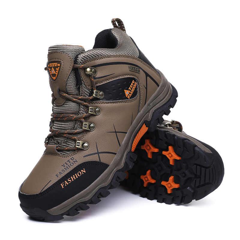 คุณภาพสูงฤดูหนาวรองเท้ารองเท้าหนังลำลองผู้ชายรองเท้ากันลื่นรองเท้าผู้ชายรองเท้ากันน้ำ FUR ใหญ่ขนาดรองเท้า