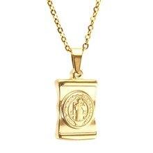 100% Rvs Maagd Maria Benedictus Ketting Voor Vrouwen Goud/Zilver Kleur Metalen Medaille Virgen Heilige Benedictus choker