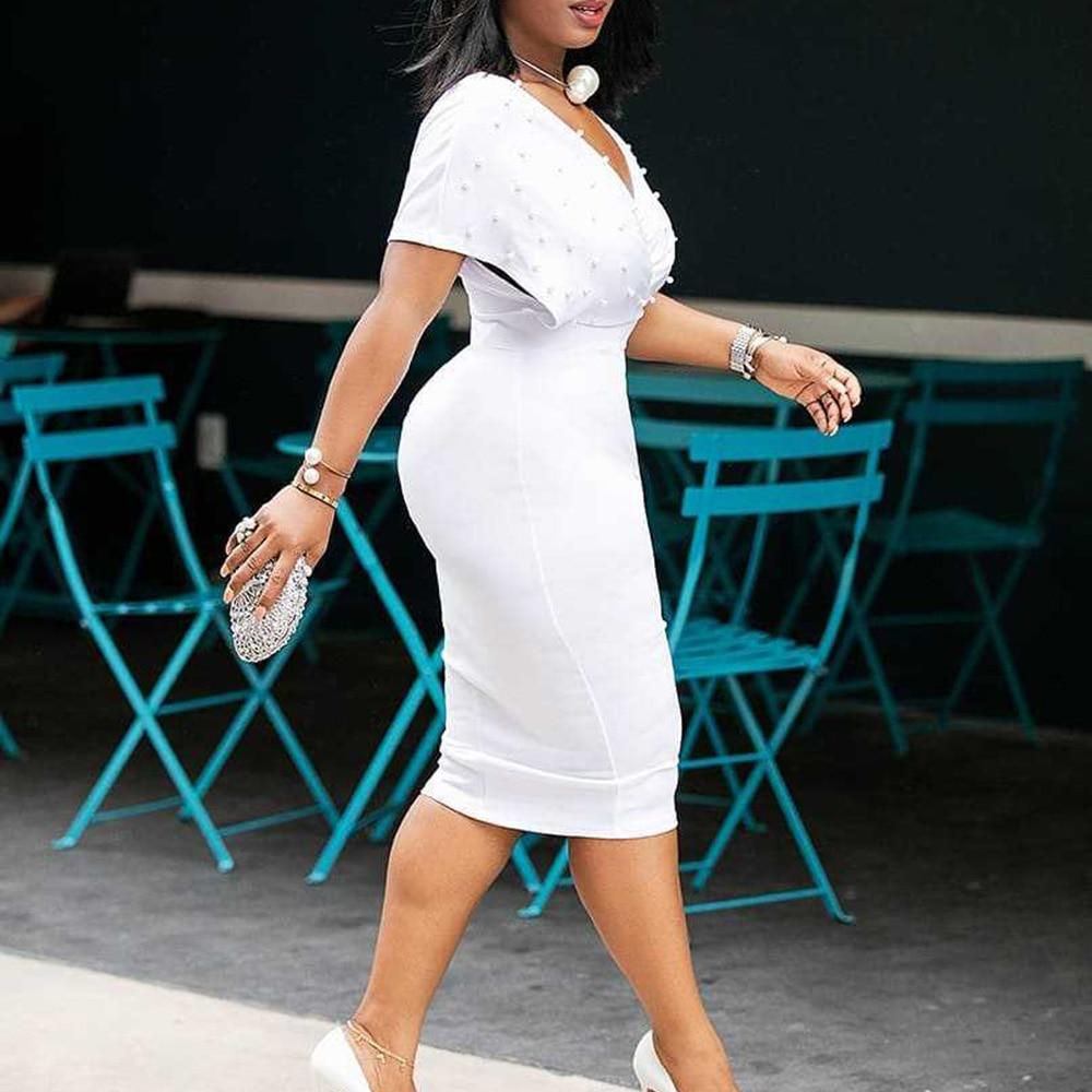 Robe Mermaid-Dress Beading Vestiods Office Elegant Pink African Femme Women Lady 3xl