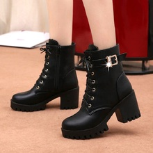 Fashion Women Boots Thick Heels Winter Shoes Platform Round Toe Ankle Lace-Up Female