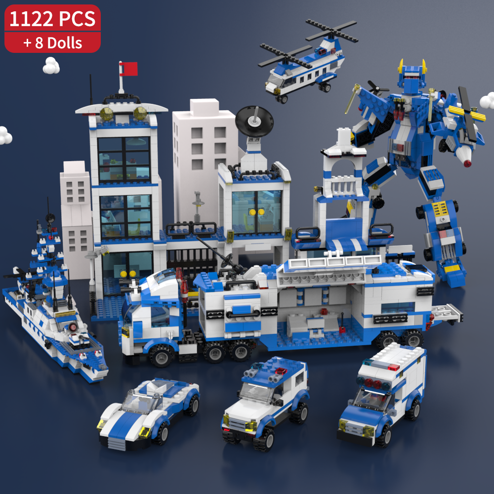 1122 Pcs SWAT City Police Series Building Blocks Vehicle Helicopter City Police Staction Truck Creative Bricks Toys For Children