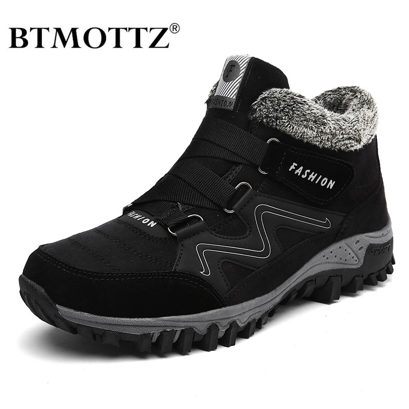 Winter Men Boots With Fur 2019 Warm Leather Snow Boots Men Winter Work Casual Shoes Sneakers High Top Rubber Ankle Boots BTMOTTZ