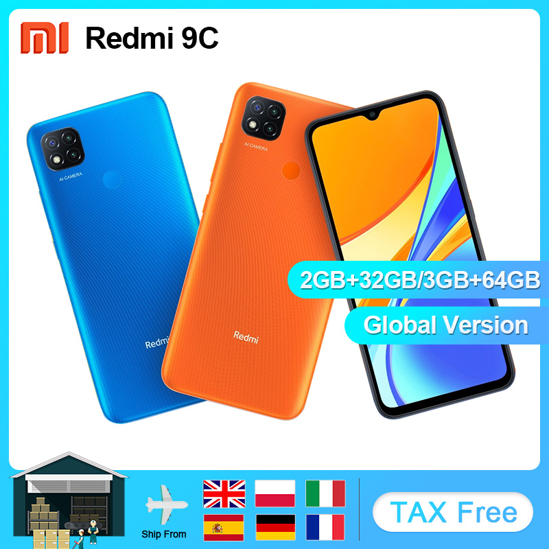 "Versão global xiaomi redmi 9c 32gb 64gb telefone móvel helio g25 octa núcleo 6.53 ""5000mah 13mp câmera smartphone"