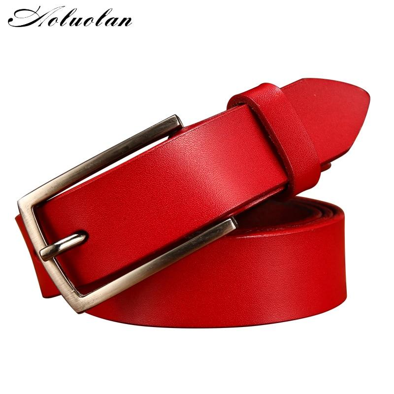 Aoluolan women leather belt needle buckle buckle leisure business leather belt jeans strap womens gift free transportation