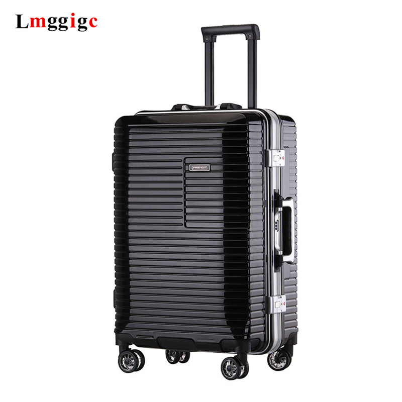 New Aluminum Frame + PC Rolling Luggage Bag, Scratchproof Travel Suitcase Wheel Box,20