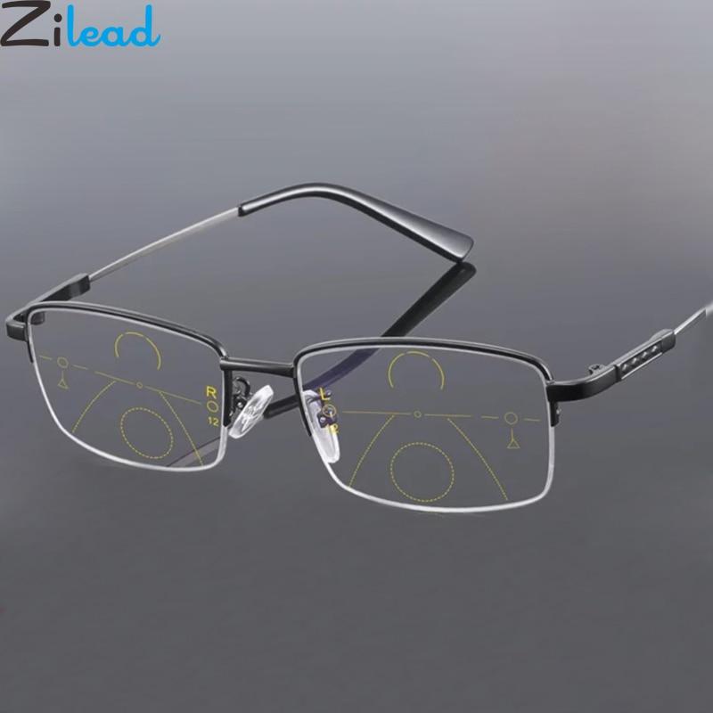 Zilead Smart Titanium Progressive Multifocus Reading Glasses Anti Blue Light Men Business Prebyopia Spectacles Eyeglasses