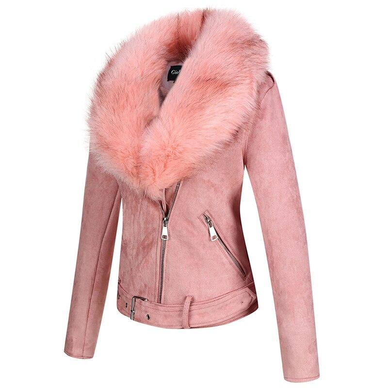 H1847ceae8d5146d4a739677de05dc371q Giolshon 2021 New Winter Women Thick Warm Faux Suede Jacket Coat With Belt Detachable Faux Fur Collar Leather Jackets Outwear
