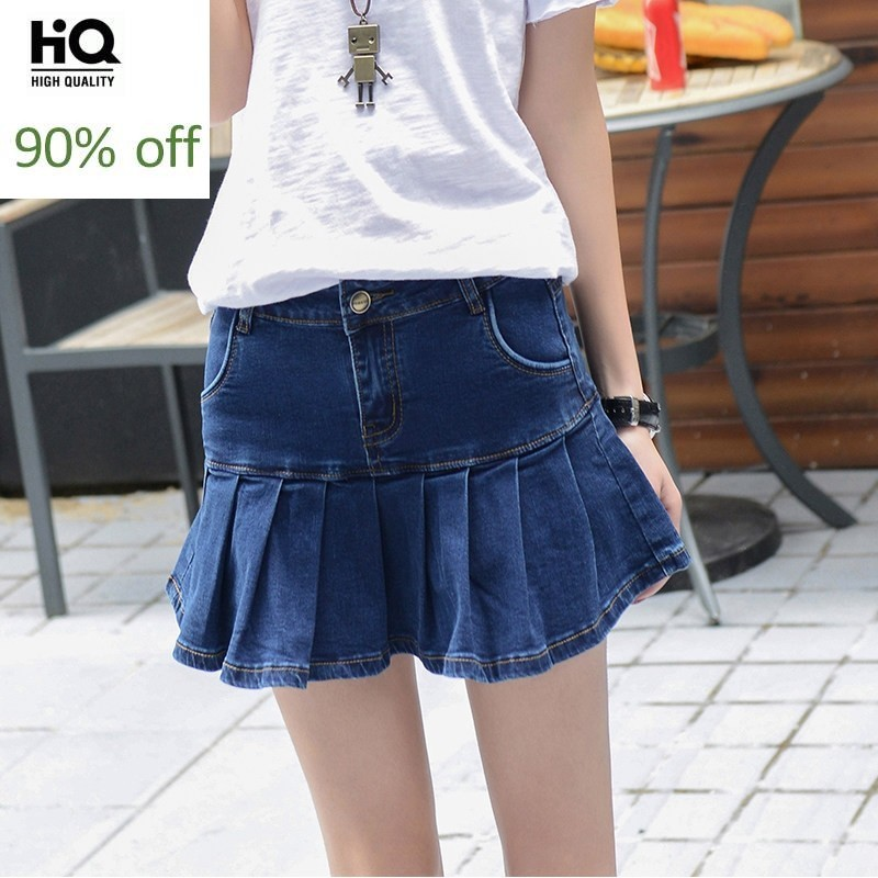 2020 Fashion Sexy Denim Shorts Skirts Plus Size Pleated Skirt For Women Preppy Style Cute Girl Jeans Shorts Ruffles Size 26 40