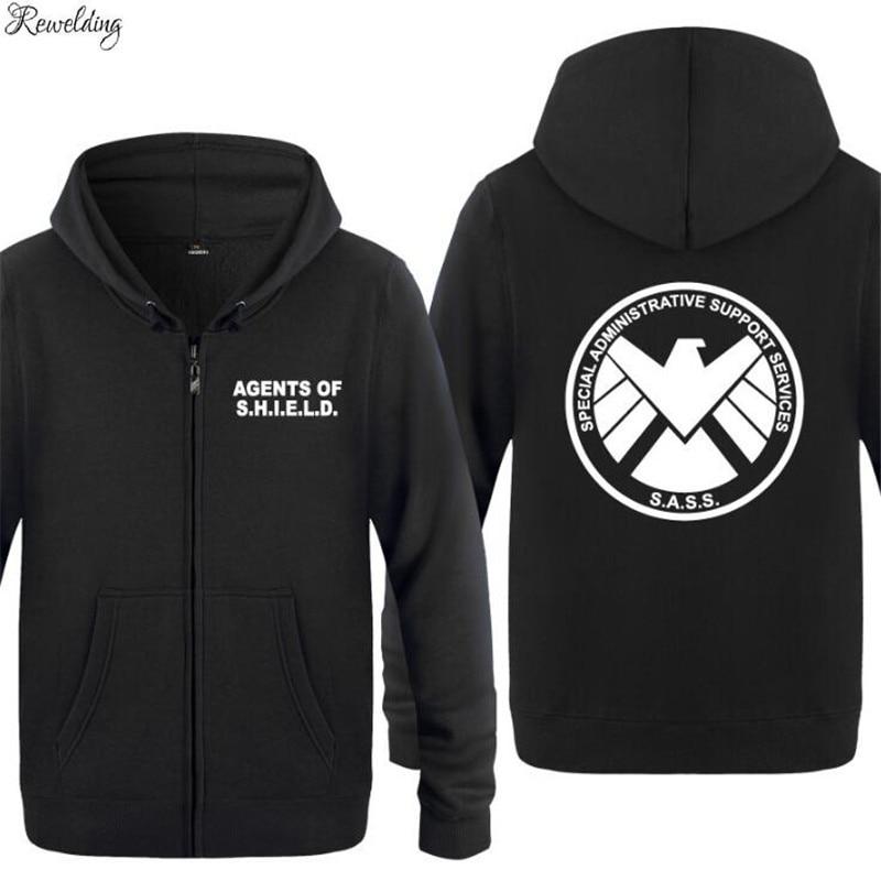 Mens Hoodie Agents Of SHIELD Hoodies Men Fleece Long Sleeve Zipper Jacket Coat Sweatshirt Hip Hop Skate Tracksuit Big Size