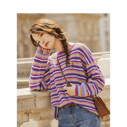 INMAN Autumn New Arrival Youth Literature Whorl V-neck Pure Color Hollow Out Jacquard Weave Pullover