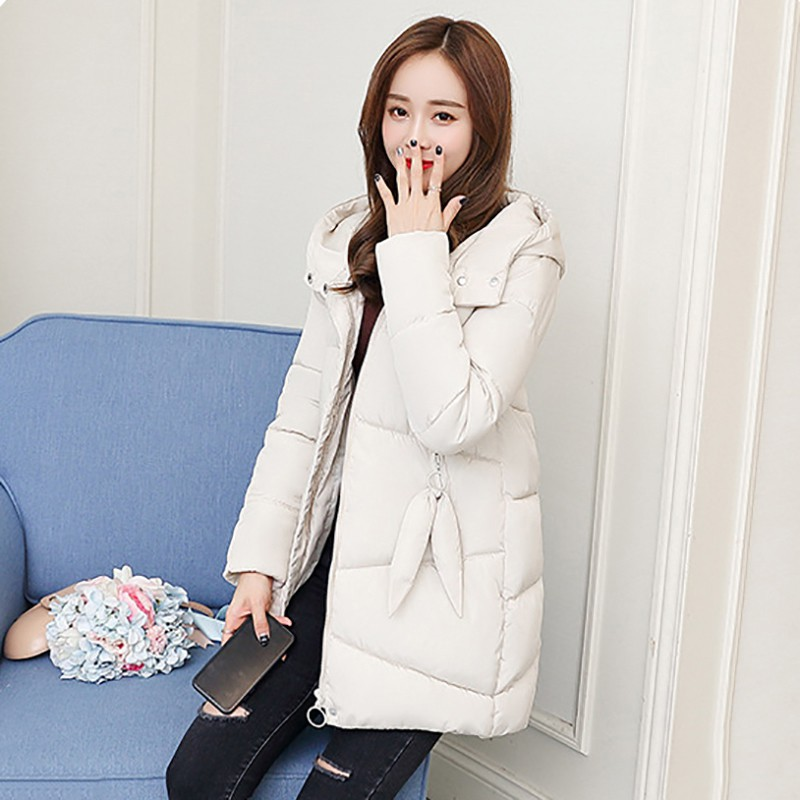Female Casual Long Sleeve Zipper Pockets Coat MM Women Long Hooded Down Coat Winter Thick Warm Jacket NM
