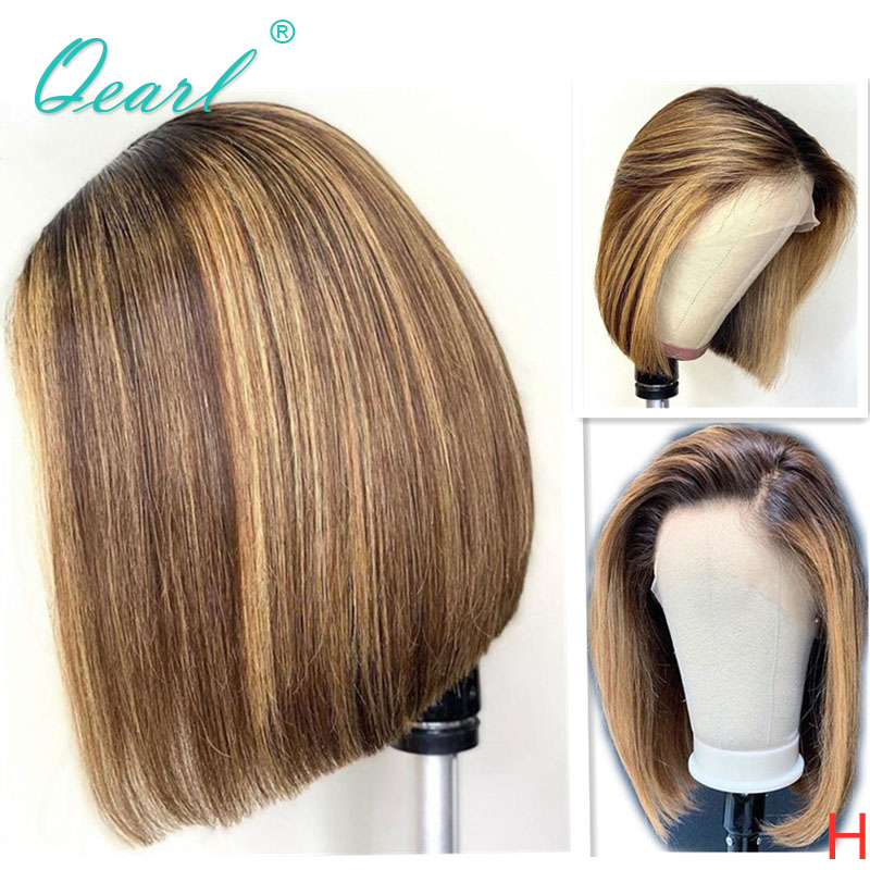 Short Bob Human Hair Wig Ombre 2/27 Honey Blonde Highlights Color Lace Front Wigs 13x4/13x6 Straight Remy Hair 130% 150% Qearl