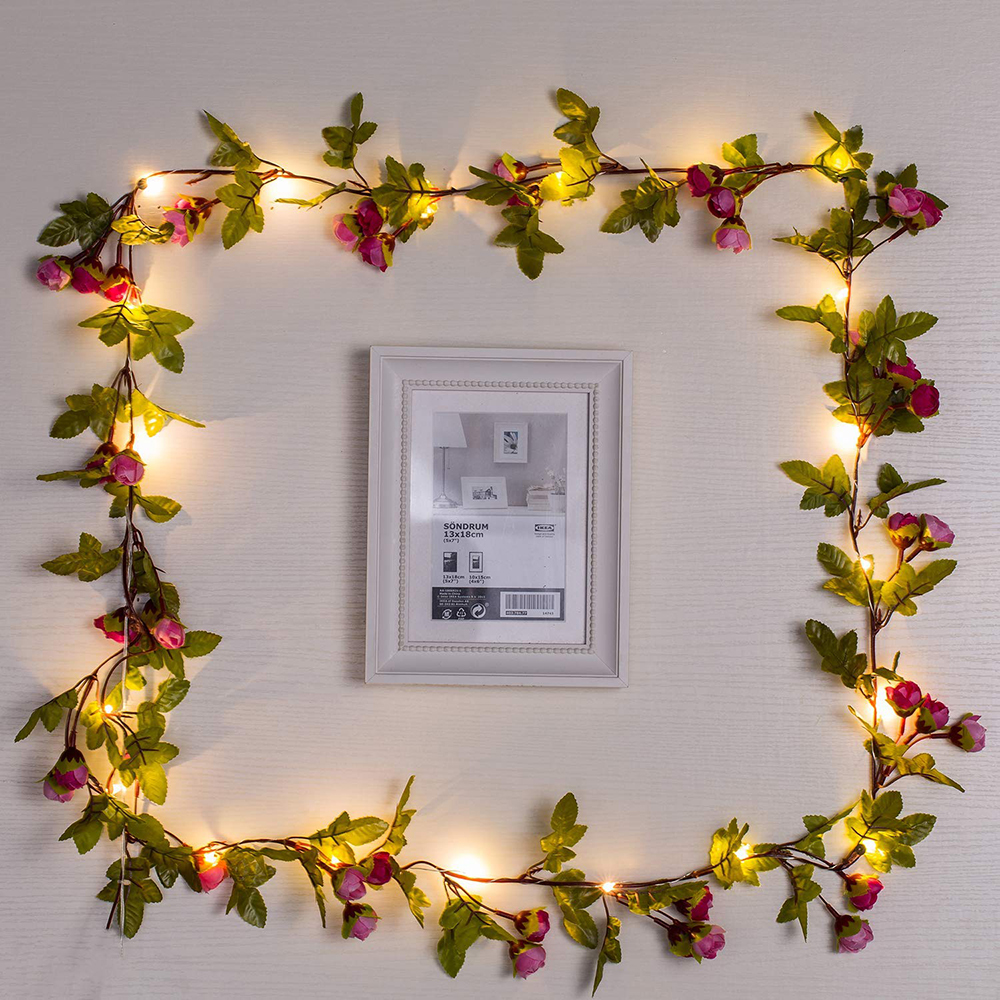 2M/5M/10M Rose Flower Vine LED Christmas Garland Fairy String Lights Battery Powered Outdoor For Wedding Garden Party Decor