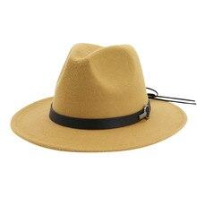 Женская Мужская шляпа винтажная шерстяная широкая шляпа однотонная Европейская джаз шляпа с поясом Кепка с пряжкой# YL5