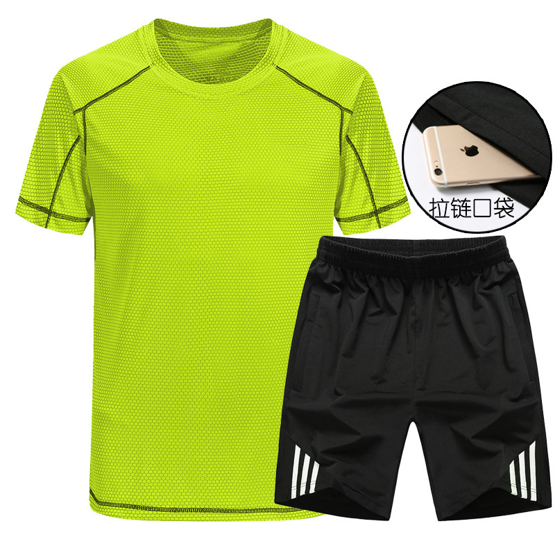 Multi--Selectable MEN'S Sports Suit Shorts Quick-Dry Short Sleeve T-shirt Fitness Running Sports Clothing Casual Two-Piece Set