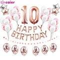 Фольгированные шары с цифрой 10, праздничные украшения на день рождения 10 лет, товары для девочек и мальчиков 10 лет, розовое золото, синий цве...