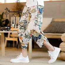 Unisex japońskie Kimono Haori spodnie azjatyckich mężczyzn Kimono Yukata Ukiyo fala druku na co dzień w pasie kreskówka rozrywka luźne spodnie Harem spodnie tanie tanio YI NA SHENG WU CN (pochodzenie) Poliester YLED28205 Loose Cropped trousers Mid waist Tether closure ordinary summer flax