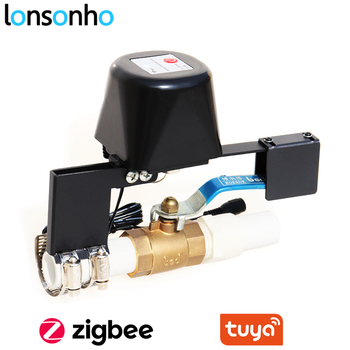 Lonsonho Tuya Zigbee Smart Gas Water Valve Controller Smart Home Automation Wireless Remote Control Compatible Tuya Zigbee Hub