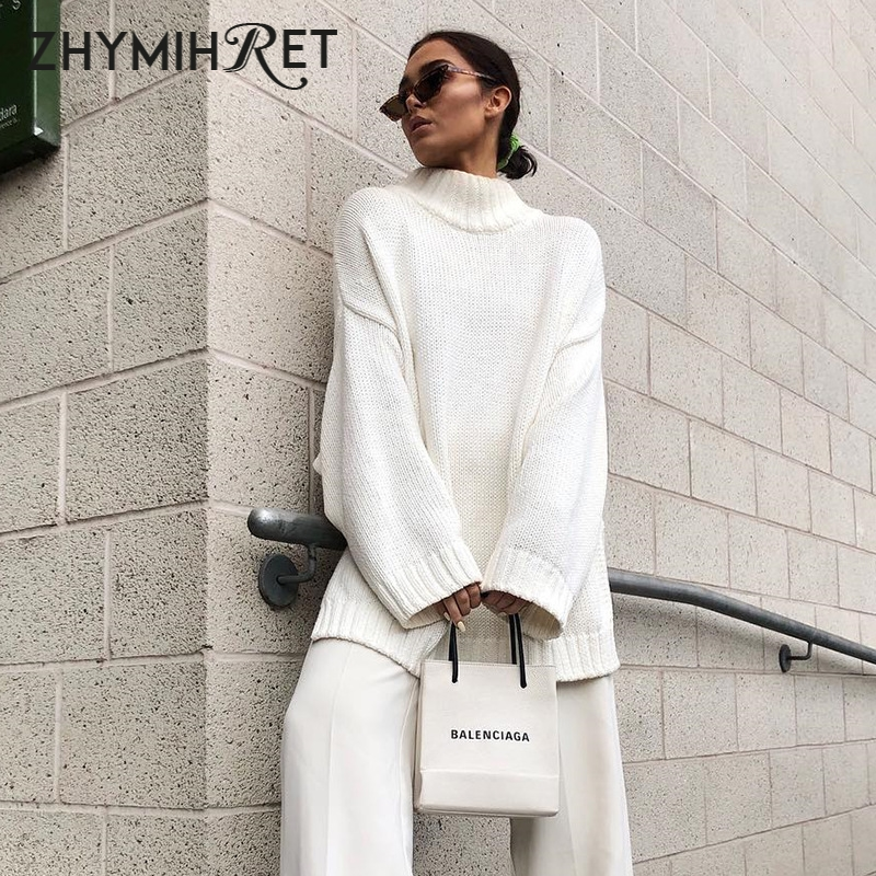 ZHYMIHRET 2019 Autumn Winter Turtleneck White Sweater Women Casual Long Sleeve Oversized Pullover Femme Loose Jumper