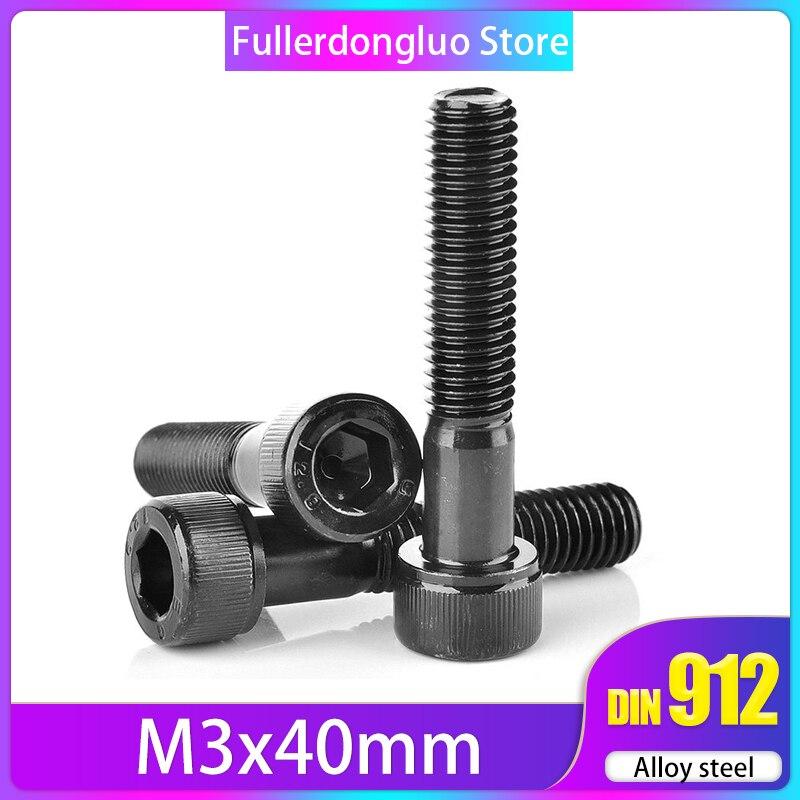 M3x40 50-Pack Socket Head Cap Screws, Class 12.9 Metric, Black Oxide Coated Steel  ( m3 40mm m3*40 m3 screw 40mm m3x40mm )