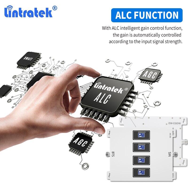 Lintratek 2G 3G 4G LTE 800mhz GSM 900 wzmacniacz sygnału 4-pasmowy wzmacniacz komórkowy DCS 1800 WCDMA 2100 antena sufitowa + 10m zestaw kabli
