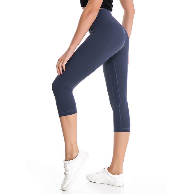Women Sports Crop Running Active Lounge Jogger Capris with side pockets Naked Feeling Leggings 4-way stretch with good quality