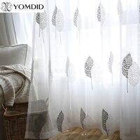 주방 거실 용 tulle 커튼 직물 voile window 침실 인쇄 된 잎 발코니 sun shading window screening