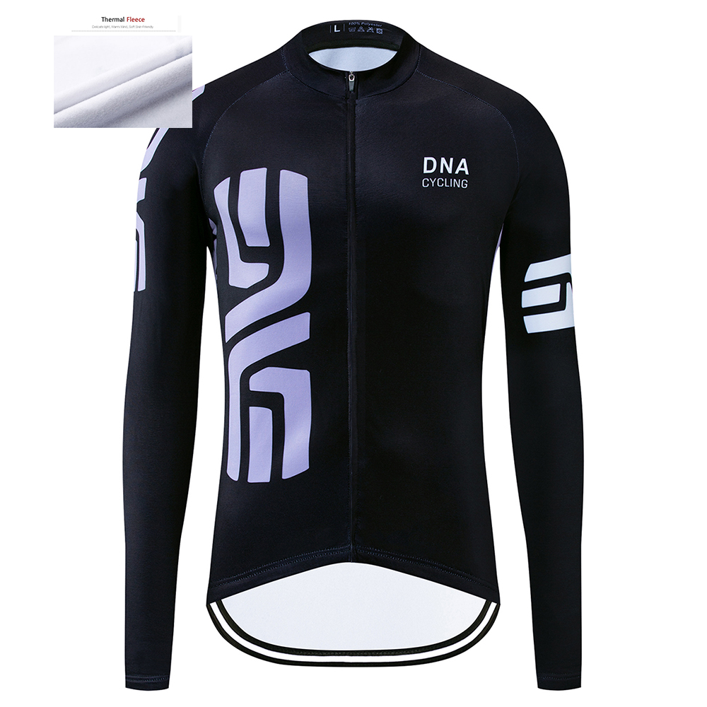 Men Pro Team Cycling Clothing Winter Cycling Jersey MTB Thermal Fleece Long Sleeve Mountain 12D Bike Jersey Bicycle Clothing image