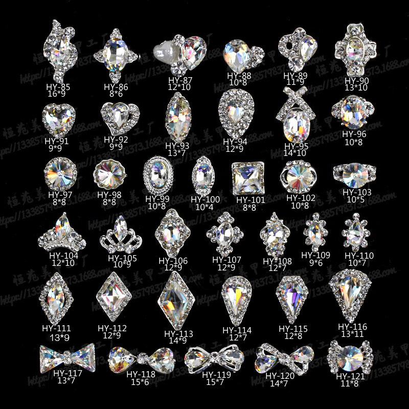 Heng Yuan New Style Alloy Diamond Shaped Nail Ornament 3D Nail Rhinestone Nail Sticker Metal Diamond Set Manicure Diamond Paste