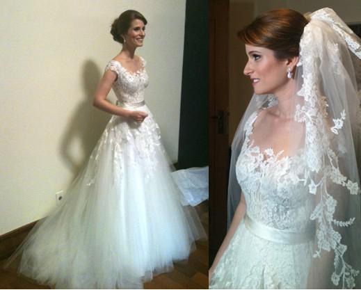 Romantic 2018 Vestido De Novia Lace Flora Appliques Illusion Back Custom Bridal Gown Casamento Mother Of The Bride Dresses