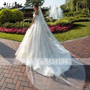Image 2 - Новое Очаровательное свадебное платье, вырез сердечком бисер A Line 2020 Великолепные Цветы Аппликации Кружева со шлейфом принцесса свадебное платье