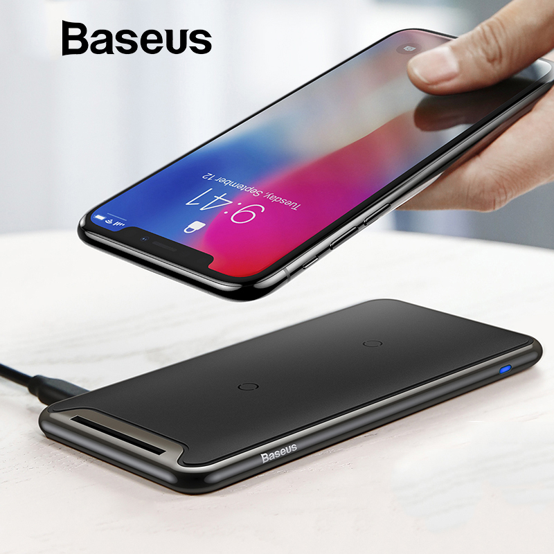 Baseus Qi Wireless Charger For iPhone Xs Max XR Samsung S9 Note 10 Xiaomi Desktop Wireless Charger Wireless Charging Pad Station in Mobile Phone Chargers from Cellphones Telecommunications