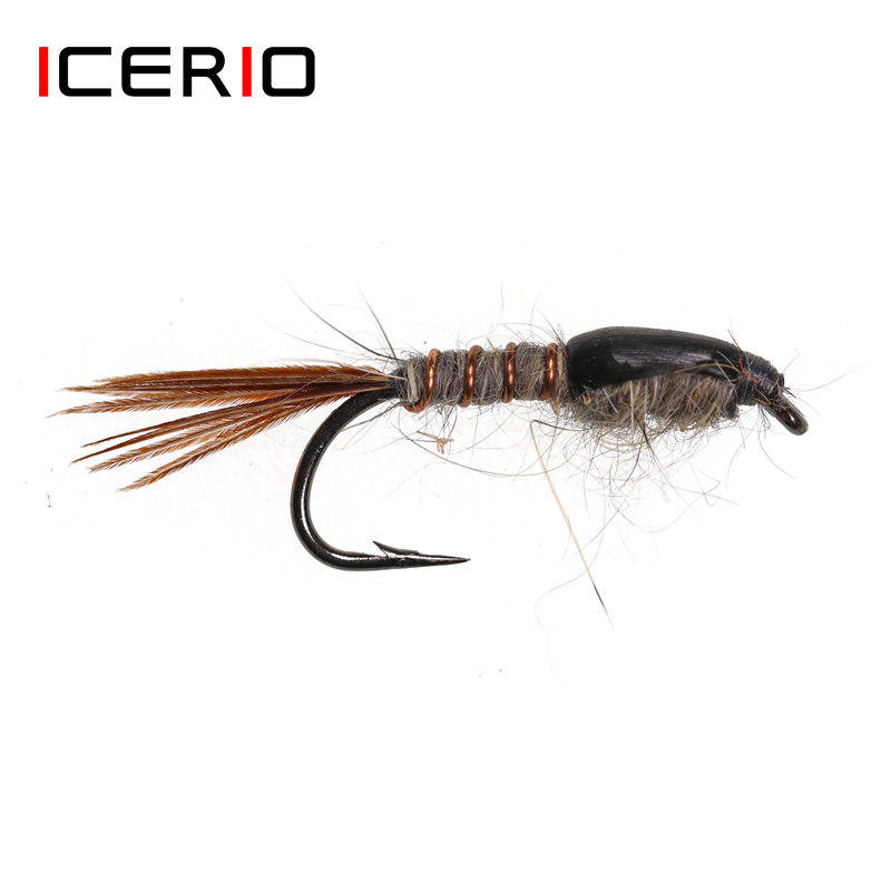 12pcs Fishing Baits Copper John Fly Brass Head Nymph Stone Trout Bait Lure Hooks
