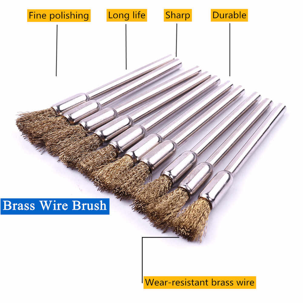 10Pcs 3mm Shank Mandrel Brass Wire Wheel Brushes Rotary Tool Grinder Accessories