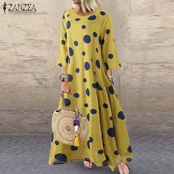 цена на ZANZEA Autumn 3/4 Sleeve Polka Dot Printed Long Dress Vintage Women's Cotton Linen Dresses Female Kaftan Vestido Femme Sundress
