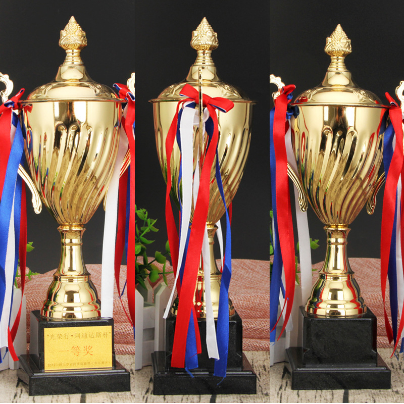 Custom Trophy Cup Award Golden Plating Champion League Trophy Crafts Souvenirs Team Sport Competition Contest Business Award Cup