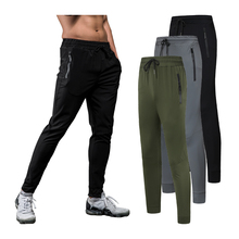 Running Gym Trousers Men Silk Breathable Workout Sports Training Sweatpants Drawstring Man Joggers Pants
