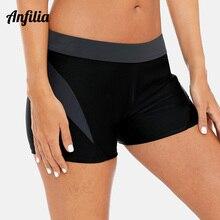 Anfilia Women's Boardshort Swimming Shorts Patchwork Color Bikini Bottom Swimwear Briefs Split Tankini Swimwear Trunks split tankini set
