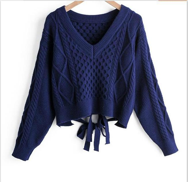 Autumn Women Short Sweaters Women Fashion V-neck Back Bow Tie Twist Sweater Sexy Sweater Crop Tops Woman Knitted Tops